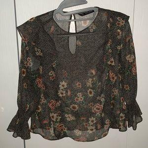 Zara Brown Sheer Floral Blouse